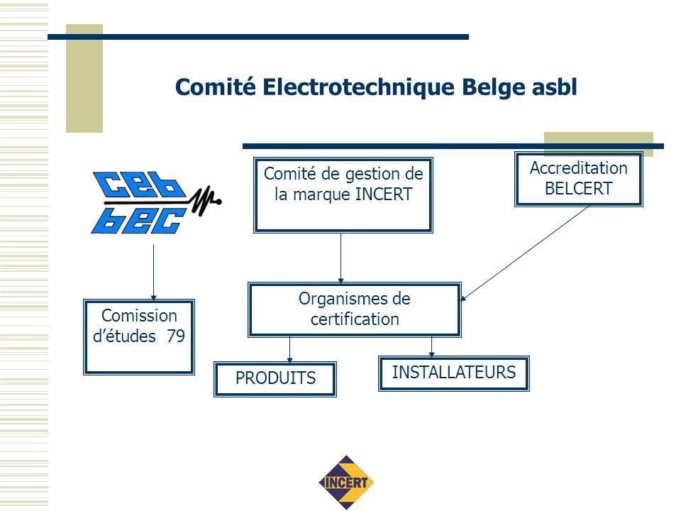 Comité Electrotechnique Belge asbl Comité de gestion de la marque INCERT Organismes de certification Comission détudes 79 PRODUITS INSTALLATEURS Accreditation BELCERT