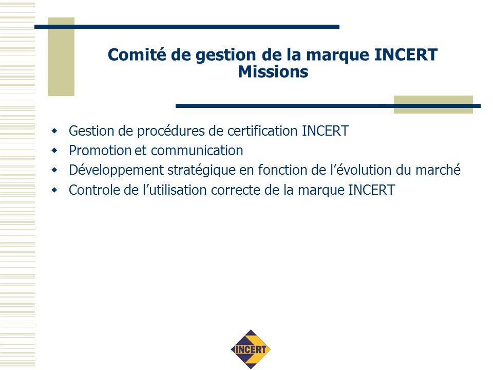 Comité de gestion de la marque INCERT Gestion de la certification Règlements de certification Exigences vis-à-vis des organismes de certification (EN45011) Mandat : installateurs: (AIB-)VINCOTTE, BOSEC, SGS S&SC eesv Produits : BOSEC, SGS Belgium NV Surveillance du marché, appel