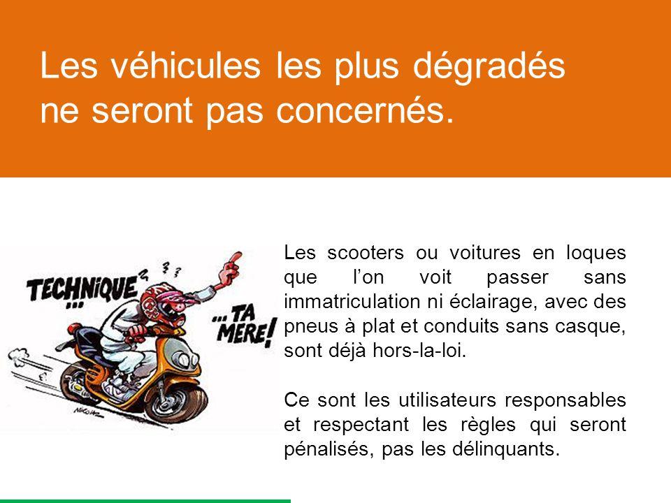 Les scooters ou voitures en loques que lon voit passer sans immatriculation ni éclairage, avec des pneus à plat et conduits sans casque, sont déjà hors-la-loi.