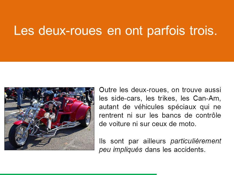 Outre les deux-roues, on trouve aussi les side-cars, les trikes, les Can-Am, autant de véhicules spéciaux qui ne rentrent ni sur les bancs de contrôle de voiture ni sur ceux de moto.