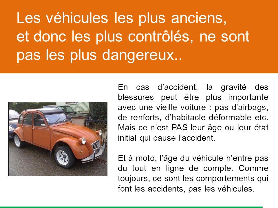 En cas daccident, la gravité des blessures peut être plus importante avec une vieille voiture : pas dairbags, de renforts, dhabitacle déformable etc.