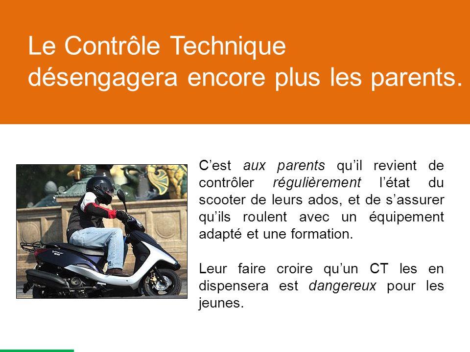 Cest aux parents quil revient de contrôler régulièrement létat du scooter de leurs ados, et de sassurer quils roulent avec un équipement adapté et une formation.