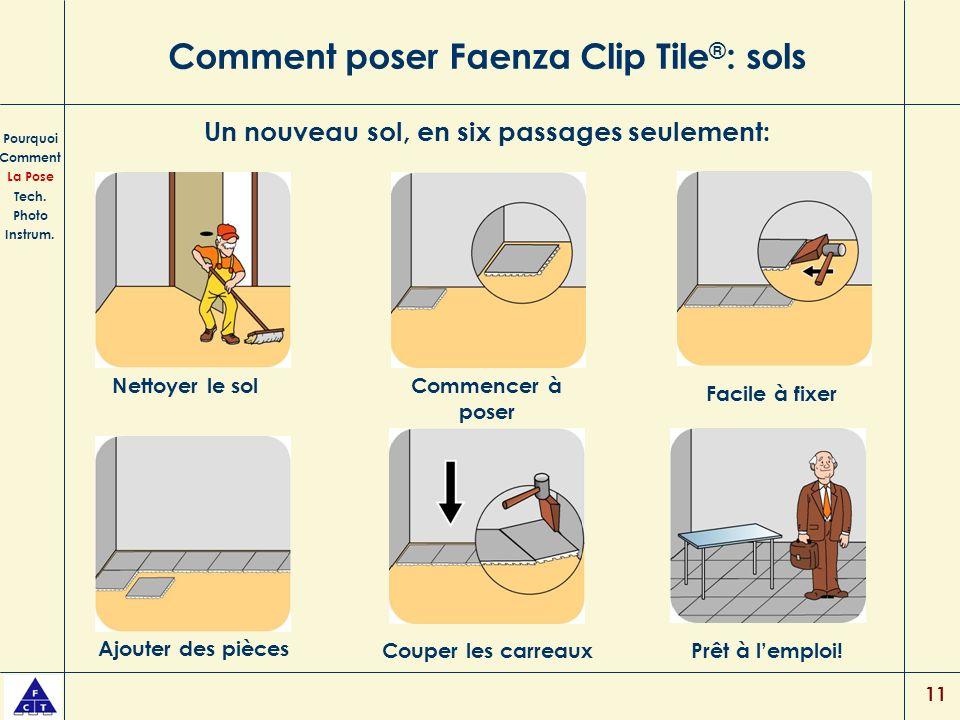 11 Comment poser Faenza Clip Tile ® : sols Pourquoi Comment La Pose Tech. Photo Instrum. Un nouveau sol, en six passages seulement: Nettoyer le solCom