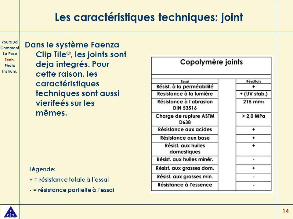 14 Les caractéristiques techniques: joint Dans le système Faenza Clip Tile ®, les joints sont deja integrés. Pour cette raison, les caractéristiques t