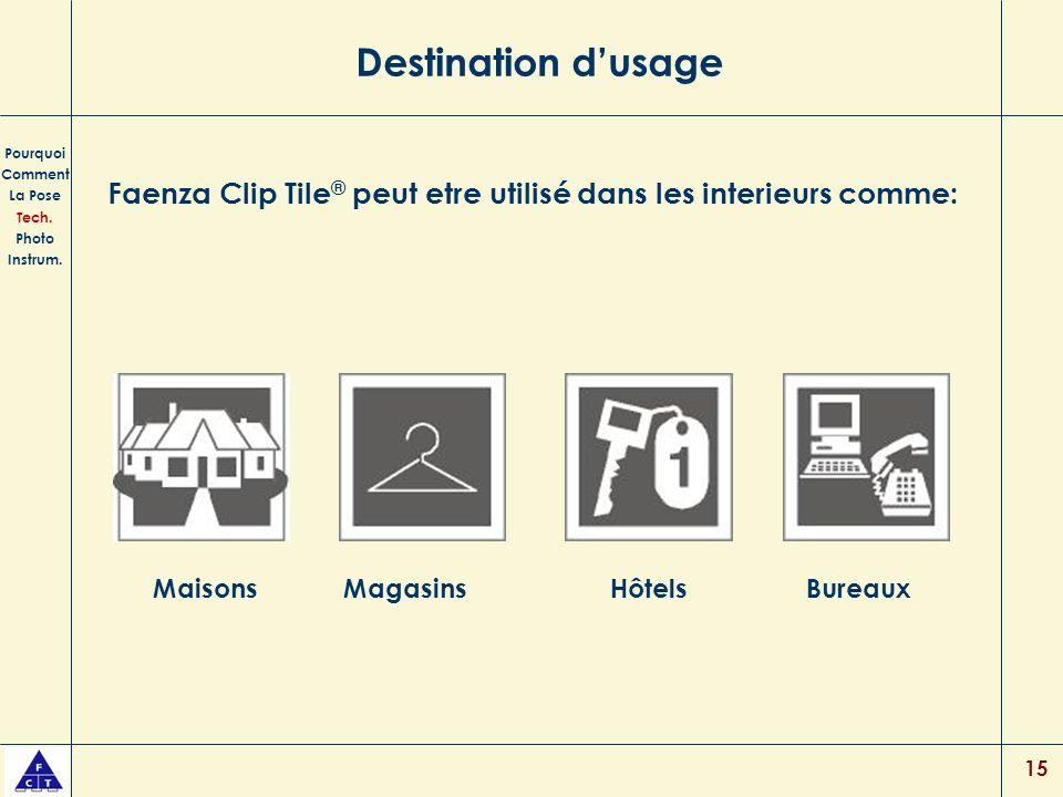 15 Destination dusage Faenza Clip Tile ® peut etre utilisé dans les interieurs comme: Pourquoi Comment La Pose Tech. Photo Instrum. MaisonsMagasinsHôt