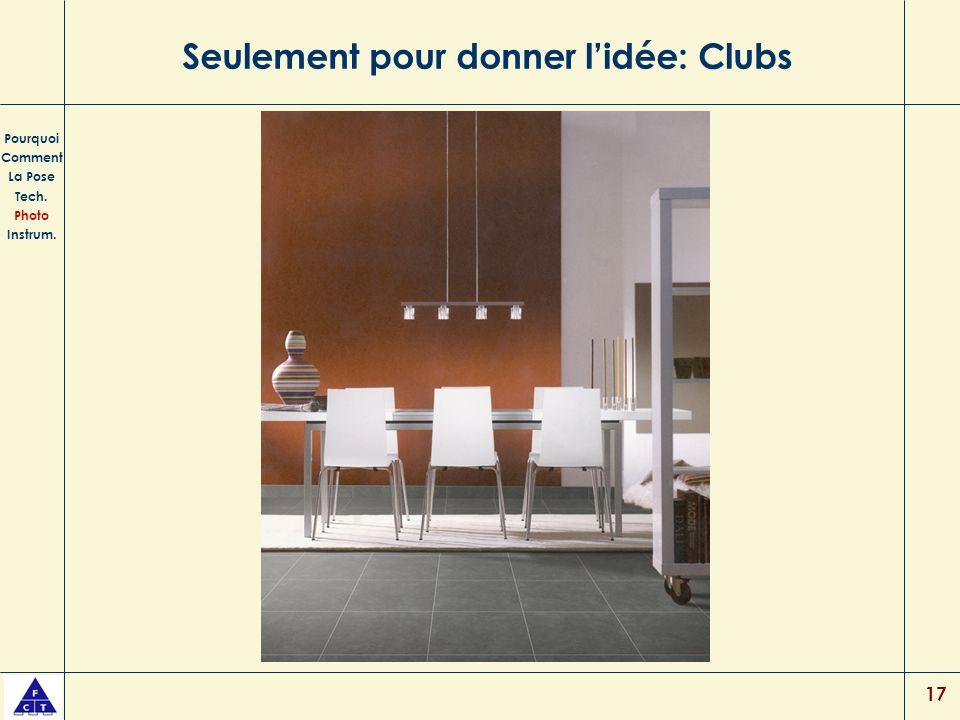 17 Seulement pour donner lidée: Clubs Pourquoi Comment La Pose Tech. Photo Instrum.