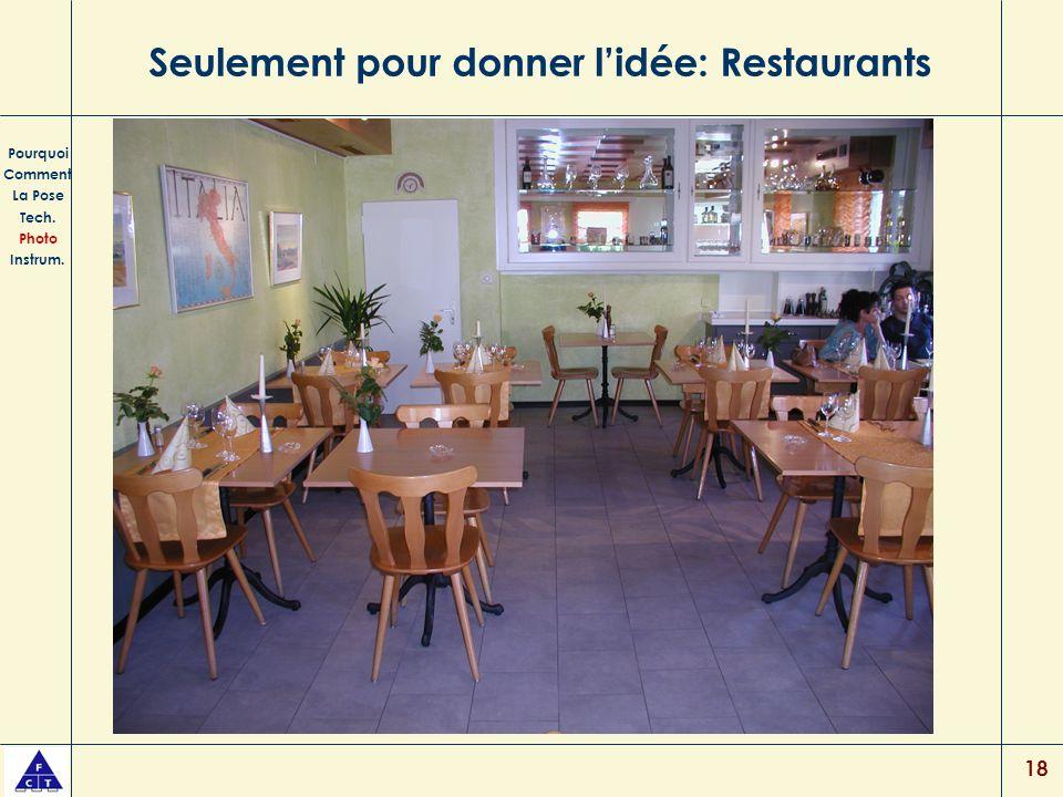 18 Seulement pour donner lidée: Restaurants Pourquoi Comment La Pose Tech. Photo Instrum.