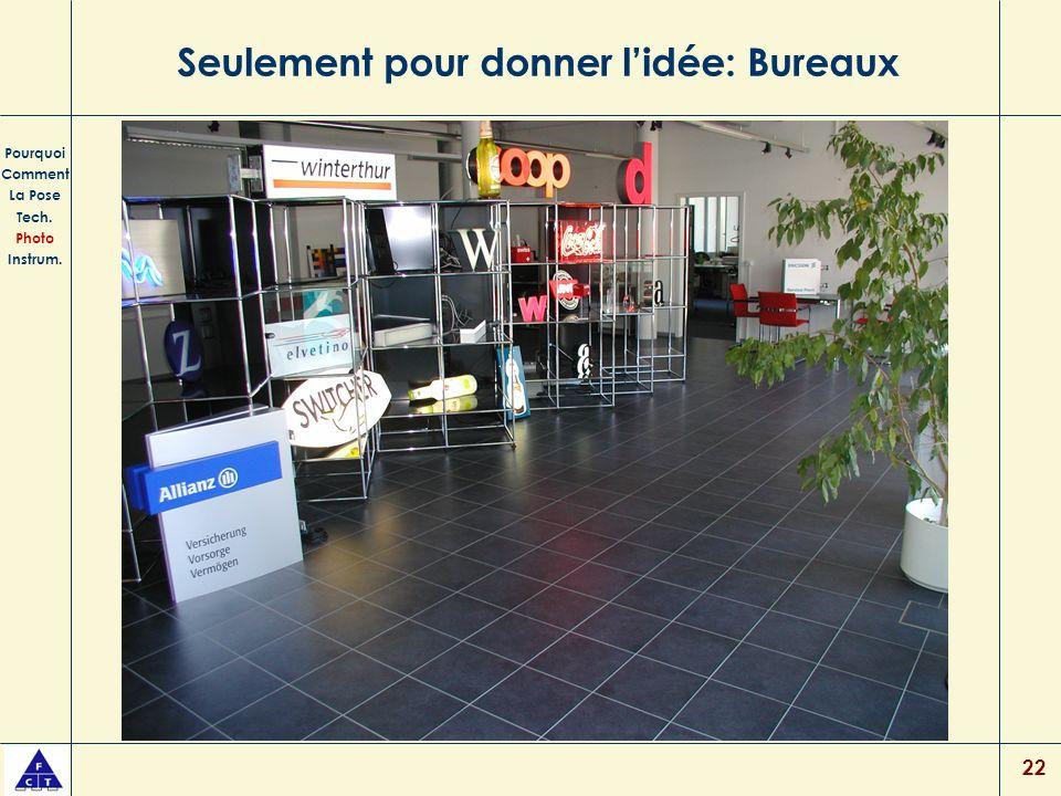 22 Seulement pour donner lidée: Bureaux Pourquoi Comment La Pose Tech. Photo Instrum.