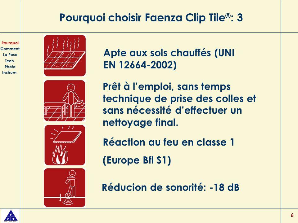 6 Pourquoi choisir Faenza Clip Tile ® : 3 Prêt à lemploi, sans temps technique de prise des colles et sans nécessité deffectuer un nettoyage final.
