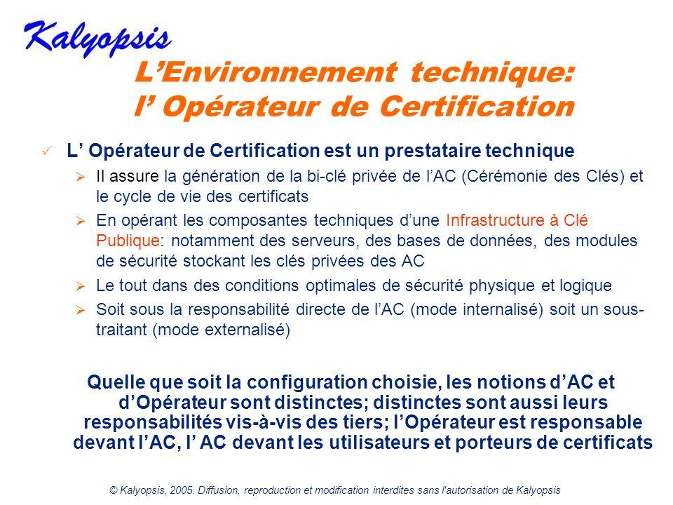 © Kalyopsis, 2005. Diffusion, reproduction et modification interdites sans l'autorisation de Kalyopsis LEnvironnement technique: l Opérateur de Certif