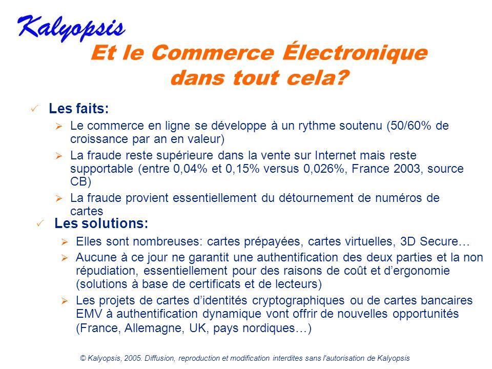 © Kalyopsis, 2005. Diffusion, reproduction et modification interdites sans l'autorisation de Kalyopsis Et le Commerce Électronique dans tout cela? Les