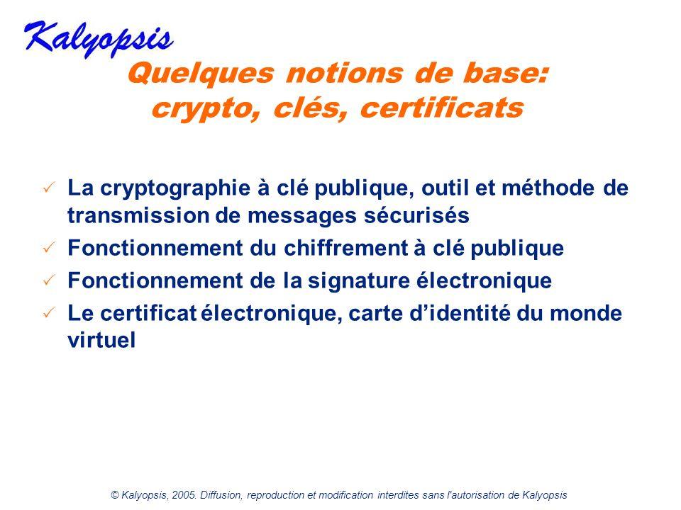 © Kalyopsis, 2005. Diffusion, reproduction et modification interdites sans l'autorisation de Kalyopsis Quelques notions de base: crypto, clés, certifi