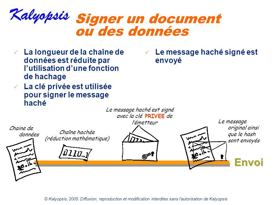 © Kalyopsis, 2005. Diffusion, reproduction et modification interdites sans l'autorisation de Kalyopsis Signer un document ou des données Chaine de don