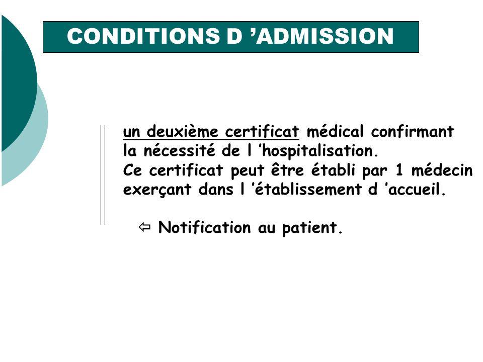 un deuxième certificat médical confirmant la nécessité de l hospitalisation.