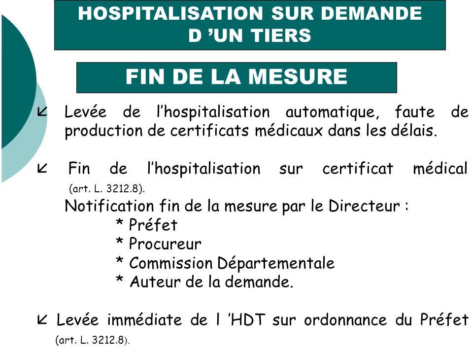HOSPITALISATION SUR DEMANDE D UN TIERS FIN DE LA MESURE Levée de lhospitalisation automatique, faute de production de certificats médicaux dans les délais.