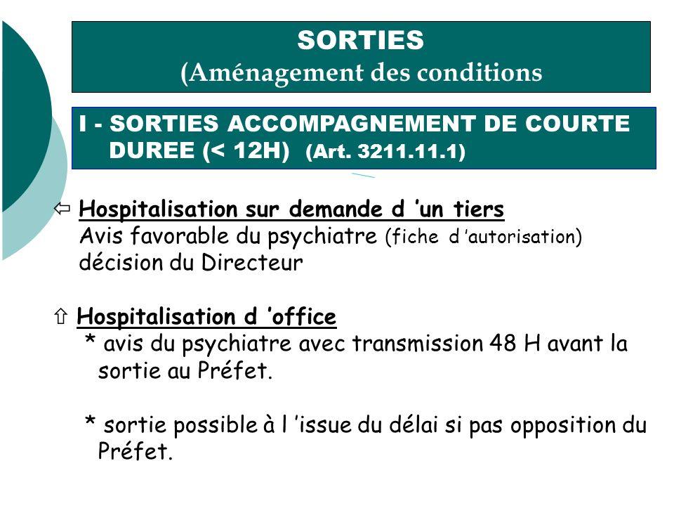 SORTIES (Aménagement des conditions dhospitalisation) I - SORTIES ACCOMPAGNEMENT DE COURTE DUREE (< 12H) (Art.