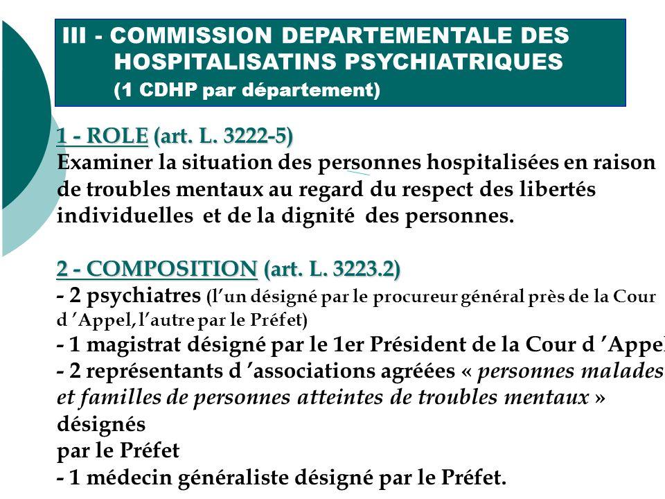 III - COMMISSION DEPARTEMENTALE DES HOSPITALISATINS PSYCHIATRIQUES (1 CDHP par département) 1 - ROLE (art.