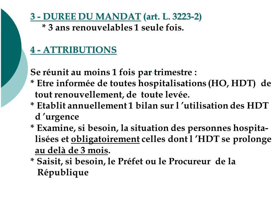 3 - DUREE DU MANDAT (art. L. 3223-2) * 3 ans renouvelables 1 seule fois.