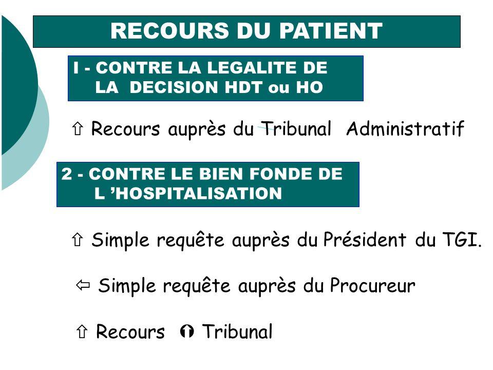 RECOURS DU PATIENT I - CONTRE LA LEGALITE DE LA DECISION HDT ou HO Recours auprès du Tribunal Administratif 2 - CONTRE LE BIEN FONDE DE L HOSPITALISATION Simple requête auprès du Président du TGI.