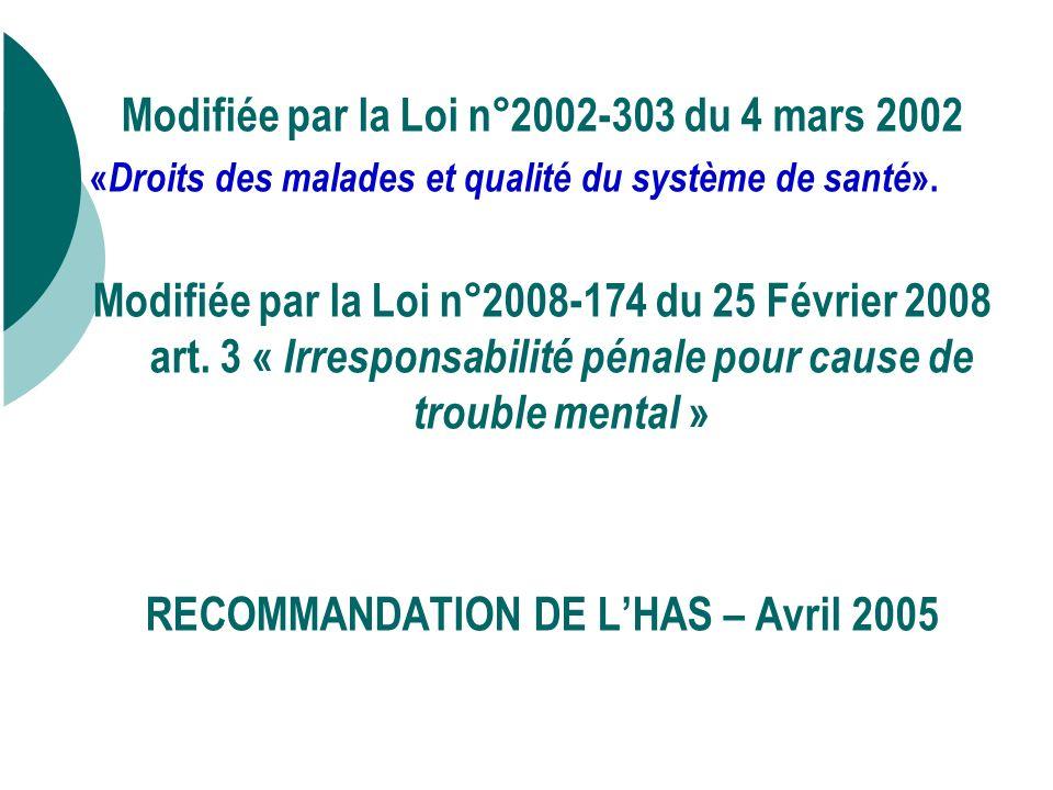Modifiée par la Loi n°2002-303 du 4 mars 2002 « Droits des malades et qualité du système de santé ».