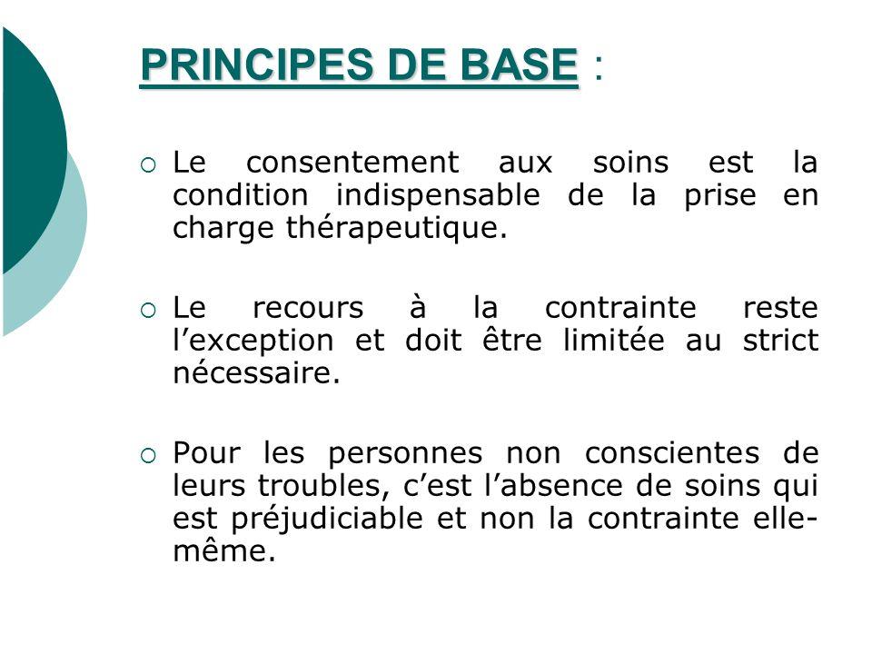 PRINCIPES DE BASE PRINCIPES DE BASE : Le consentement aux soins est la condition indispensable de la prise en charge thérapeutique.