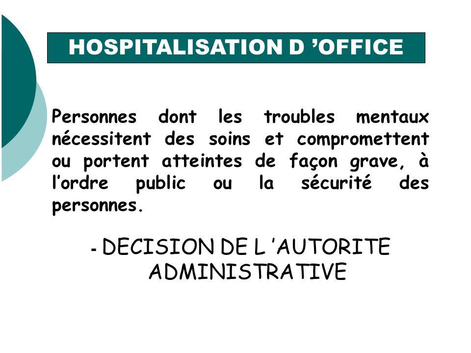 HOSPITALISATION D OFFICE Personnes dont les troubles mentaux nécessitent des soins et compromettent ou portent atteintes de façon grave, à lordre public ou la sécurité des personnes.