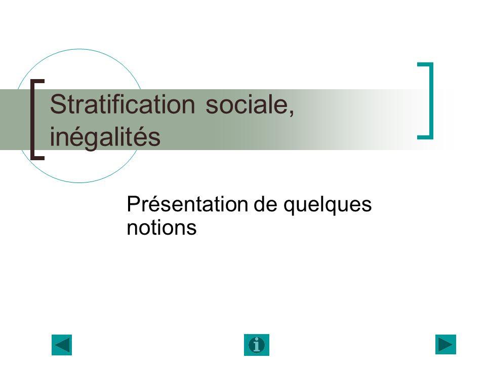 Stratification sociale, inégalités Présentation de quelques notions