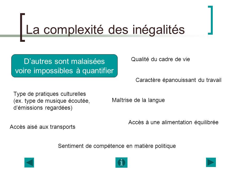 La complexité des inégalités Dautres sont malaisées voire impossibles à quantifier Qualité du cadre de vie Maîtrise de la langue Caractère épanouissan