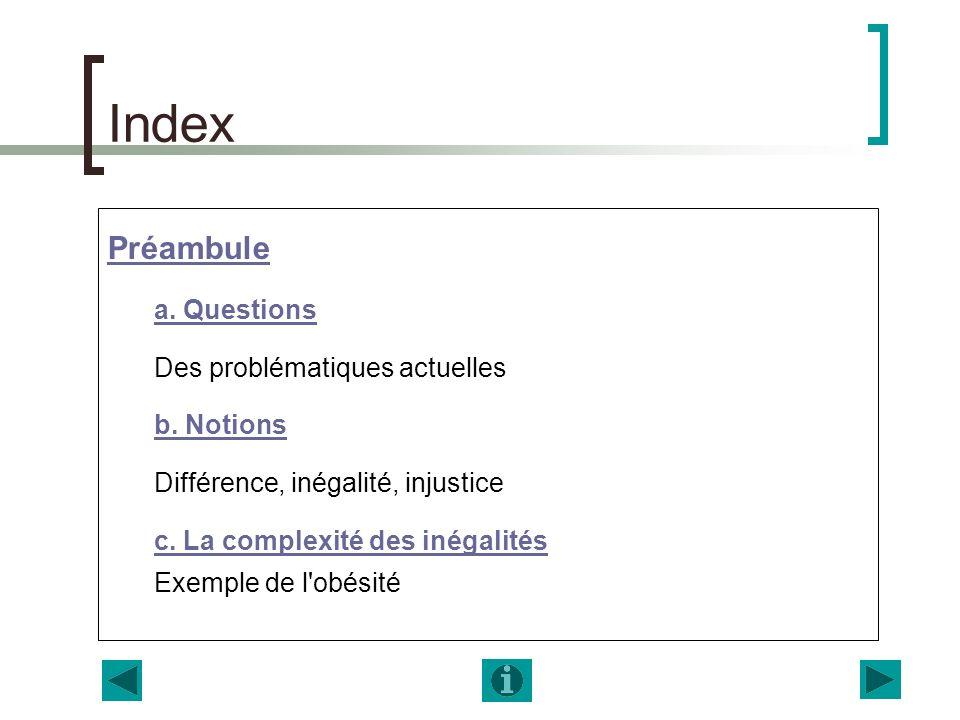 Index Préambule a. Questions Des problématiques actuelles b. Notions Différence, inégalité, injustice c. La complexité des inégalités Exemple de l'obé
