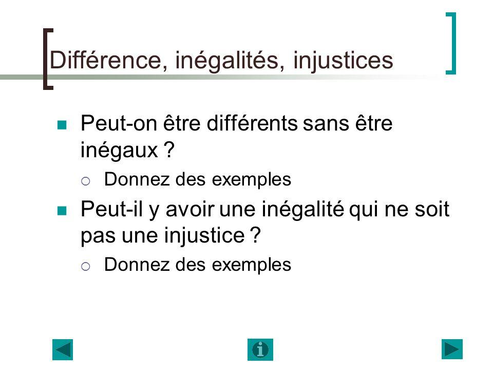Différence, inégalités, injustices Peut-on être différents sans être inégaux ? Donnez des exemples Peut-il y avoir une inégalité qui ne soit pas une i