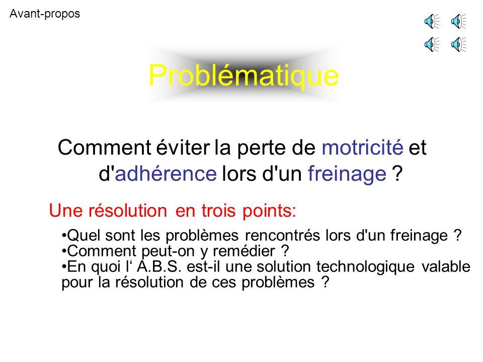 Problématique Comment éviter la perte de motricité et d adhérence lors d un freinage .