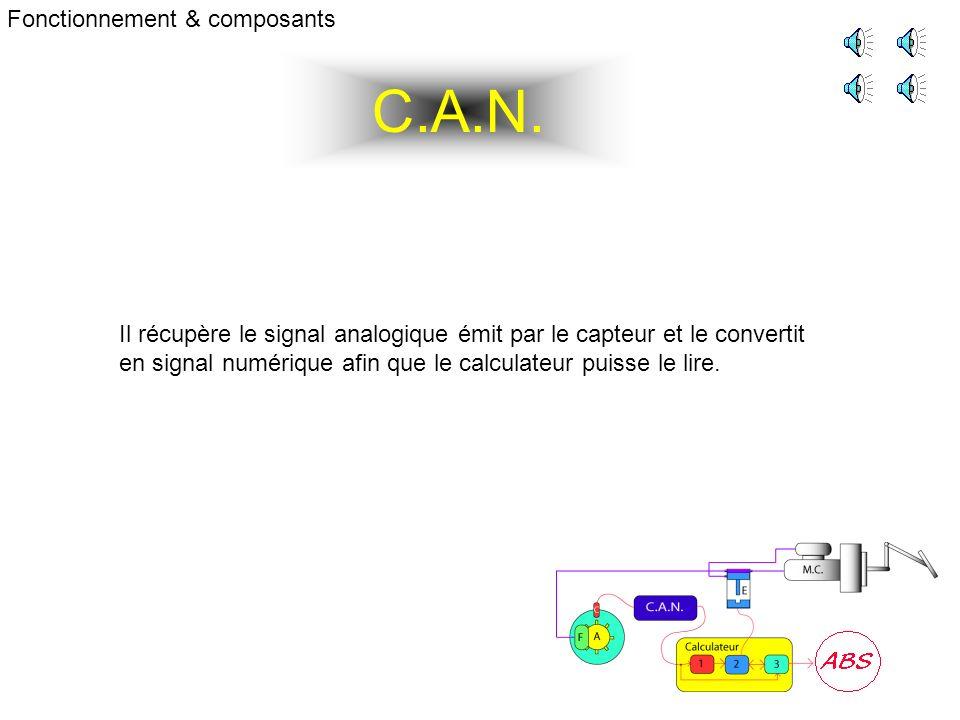 C.A.N. Fonctionnement & composants Il récupère le signal analogique émit par le capteur et le convertit en signal numérique afin que le calculateur pu