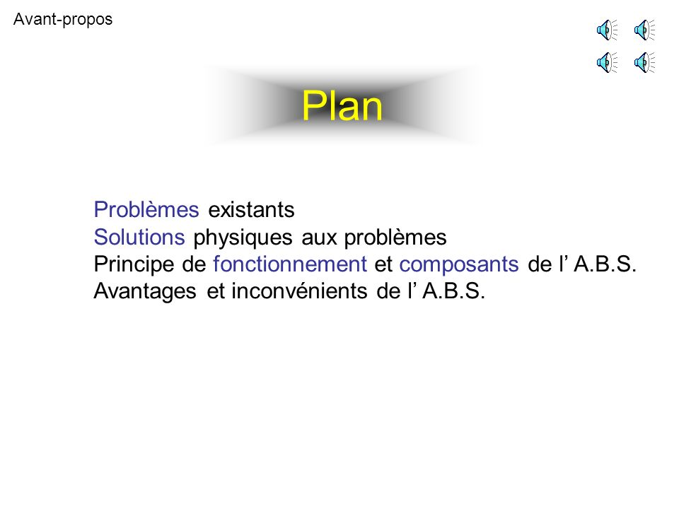 Avant-propos Problèmes existants Solutions physiques aux problèmes Principe de fonctionnement et composants de l A.B.S. Avantages et inconvénients de