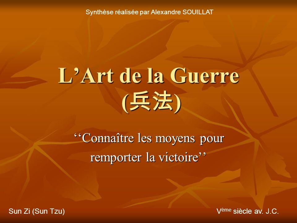 LArt de la Guerre () Connaître les moyens pour remporter la victoire Sun Zi (Sun Tzu)V ème siècle av.