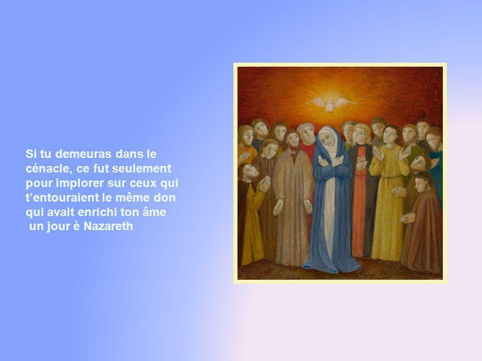 Sainte Marie, femme des hauteurs, icône splendide de lÉglise, tu avais déjà vécu ta Pentecôte personnelle à lannonce de lange, lorsque lEsprit Saint d