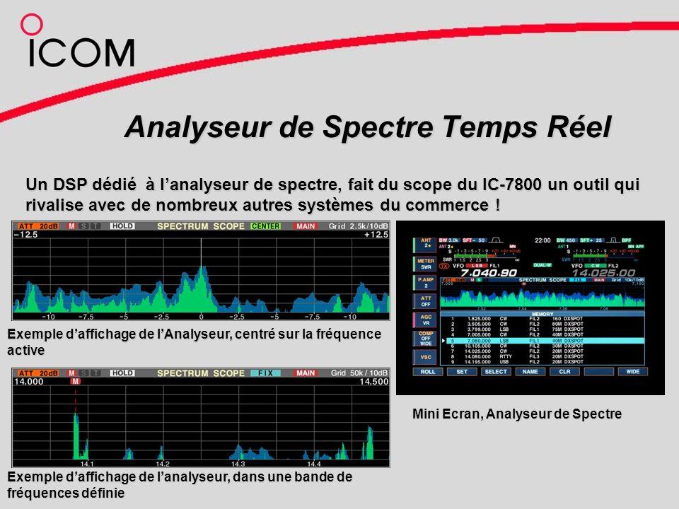 Analyseur de Spectre Temps Réel Exemple daffichage de lAnalyseur, centré sur la fréquence active Exemple daffichage de lanalyseur, dans une bande de fréquences définie Mini Ecran, Analyseur de Spectre Mini Ecran, Analyseur de Spectre Un DSP dédié à lanalyseur de spectre, fait du scope du IC-7800 un outil qui rivalise avec de nombreux autres systèmes du commerce !