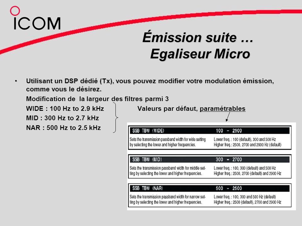 Émission suite … Egaliseur Micro Utilisant un DSP dédié (Tx), vous pouvez modifier votre modulation émission, comme vous le désirez.Utilisant un DSP dédié (Tx), vous pouvez modifier votre modulation émission, comme vous le désirez.