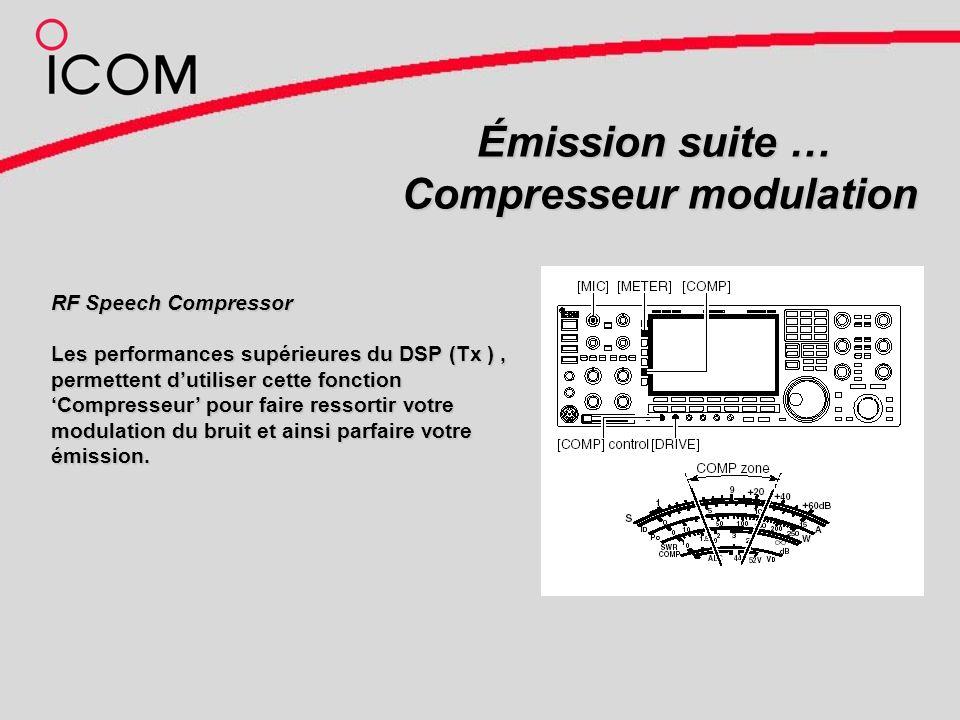 Émission suite … Compresseur modulation RF Speech Compressor Les performances supérieures du DSP (Tx ), permettent dutiliser cette fonction Compresseur pour faire ressortir votre modulationdu bruit et ainsi parfaire votre émission.