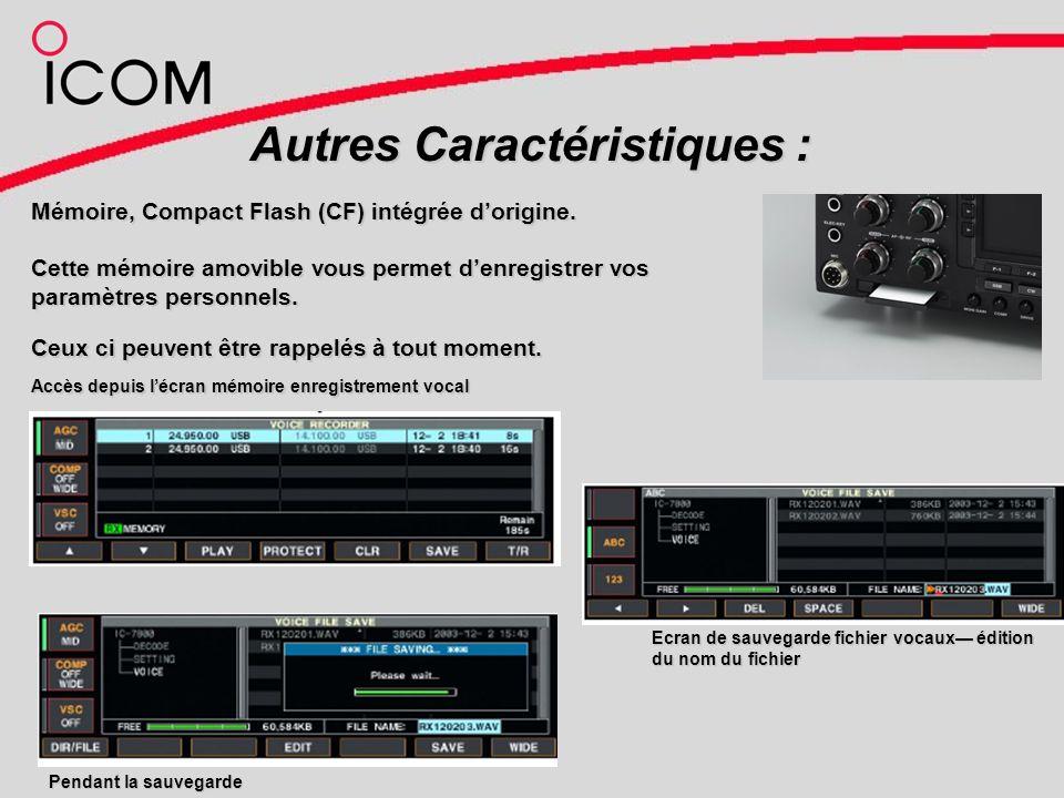 Autres Caractéristiques : Mémoire, Compact Flash (CF) intégrée dorigine.