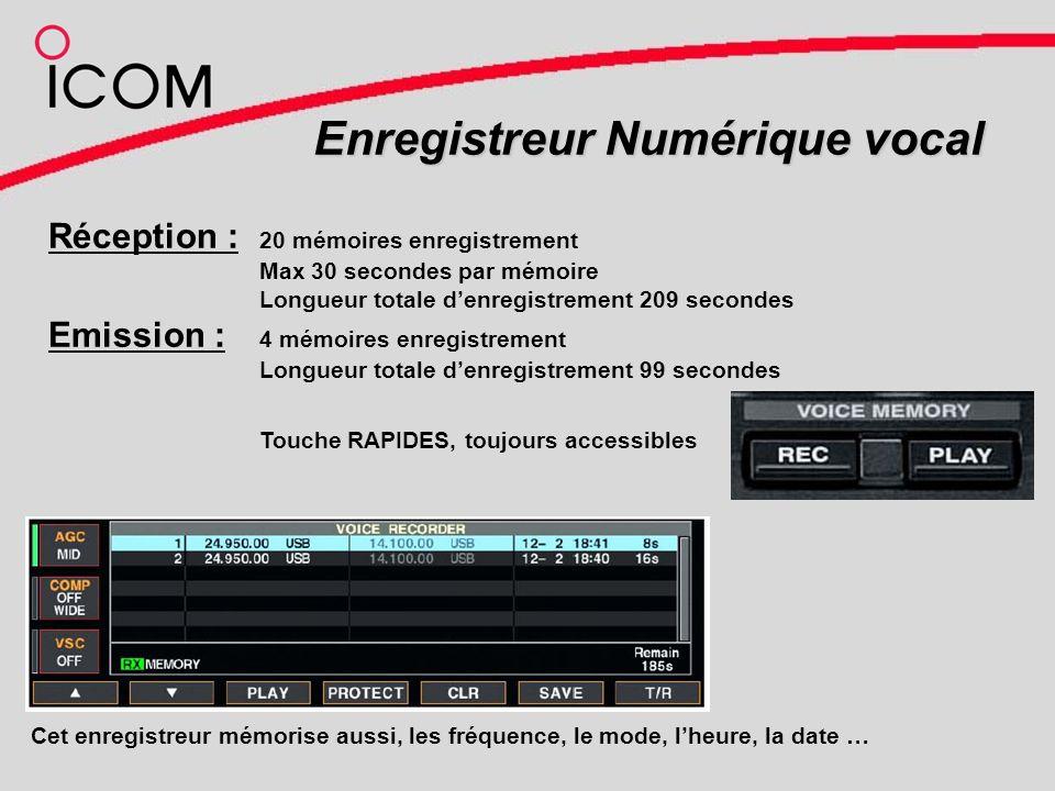 Enregistreur Numérique vocal Réception : 20 mémoires enregistrement Max 30 secondes par mémoire Longueur totale denregistrement 209 secondes Emission : 4 mémoires enregistrement Longueur totale denregistrement 99 secondes Cet enregistreur mémorise aussi, les fréquence, le mode, lheure, la date … Touche RAPIDES, toujours accessibles