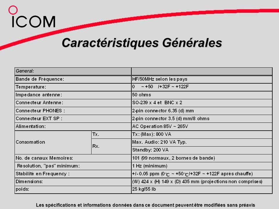 Caractéristiques Générales Les spécifications et informations données dans ce document peuvent être modifiées sans préavis