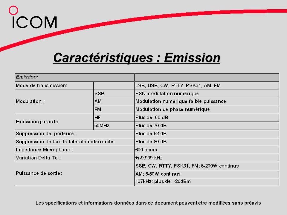 Caractéristiques : Emission Les spécifications et informations données dans ce document peuvent être modifiées sans préavis