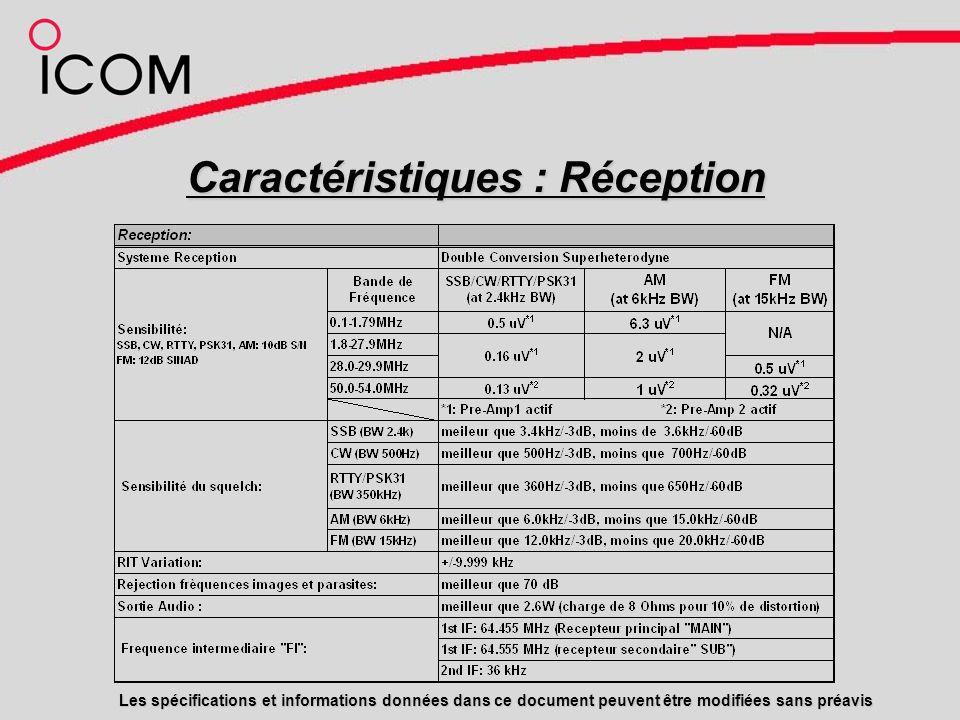 Caractéristiques : Réception Les spécifications et informations données dans ce document peuvent être modifiées sans préavis