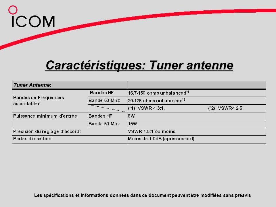 Caractéristiques: Tuner antenne Les spécifications et informations données dans ce document peuvent être modifiées sans préavis