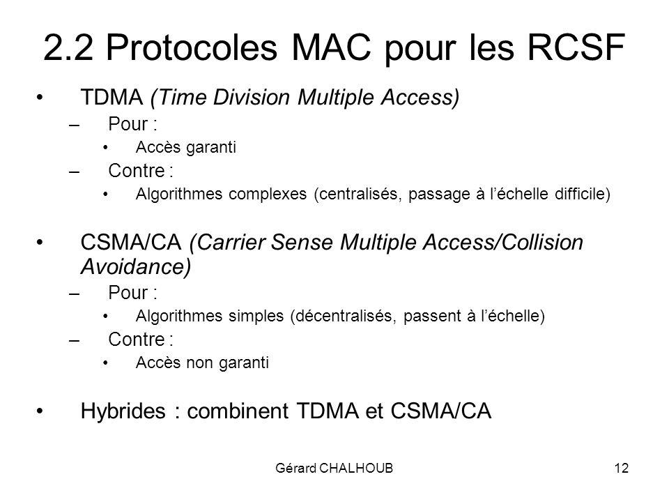 Gérard CHALHOUB12 2.2 Protocoles MAC pour les RCSF TDMA (Time Division Multiple Access) –Pour : Accès garanti –Contre : Algorithmes complexes (centralisés, passage à léchelle difficile) CSMA/CA (Carrier Sense Multiple Access/Collision Avoidance) –Pour : Algorithmes simples (décentralisés, passent à léchelle) –Contre : Accès non garanti Hybrides : combinent TDMA et CSMA/CA