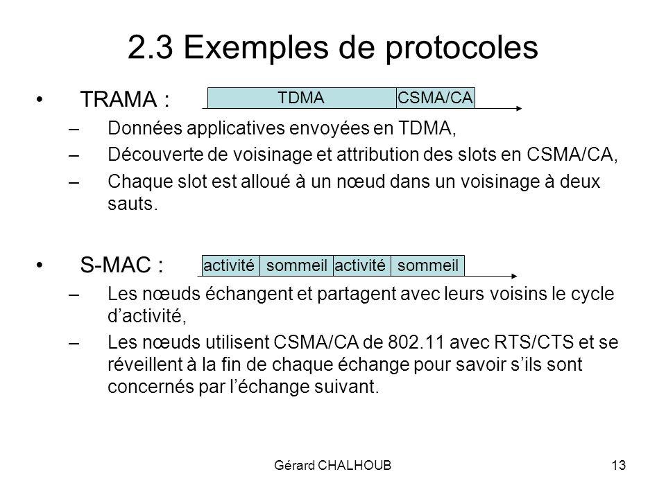 Gérard CHALHOUB13 2.3 Exemples de protocoles TRAMA : –Données applicatives envoyées en TDMA, –Découverte de voisinage et attribution des slots en CSMA/CA, –Chaque slot est alloué à un nœud dans un voisinage à deux sauts.