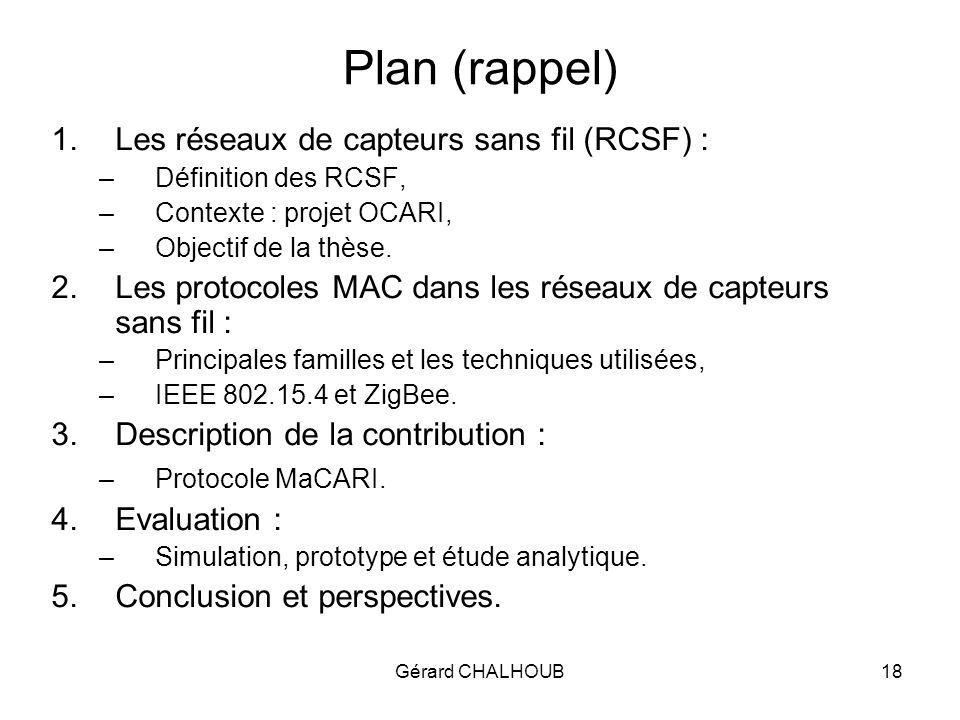 Gérard CHALHOUB18 Plan (rappel) 1.Les réseaux de capteurs sans fil (RCSF) : –Définition des RCSF, –Contexte : projet OCARI, –Objectif de la thèse.