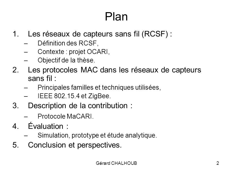 Gérard CHALHOUB3 1.1 Les réseaux de capteurs sans fil Ensemble de nœuds communicants (en mode ad-hoc) constitués de 4 composants essentiels : un module radio, un microcontrôleur, capteur(s)/actionneur(s) et une source dénergie.