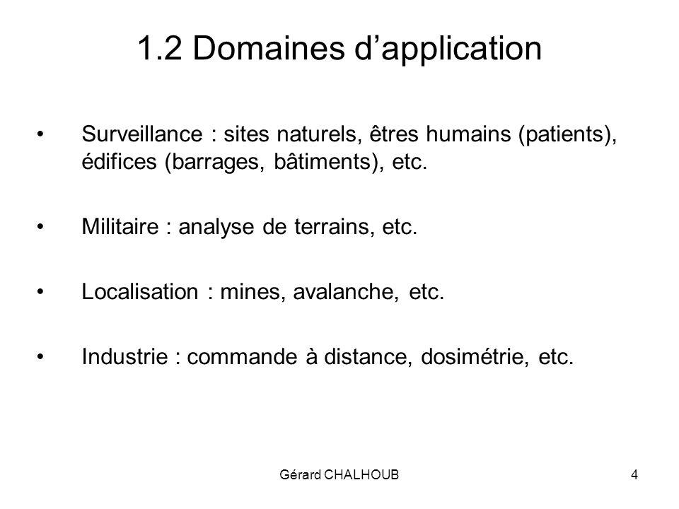 Gérard CHALHOUB4 1.2 Domaines dapplication Surveillance : sites naturels, êtres humains (patients), édifices (barrages, bâtiments), etc.