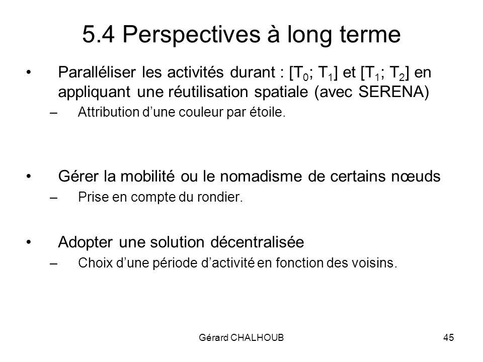 Gérard CHALHOUB45 5.4 Perspectives à long terme Paralléliser les activités durant : [T 0 ; T 1 ] et [T 1 ; T 2 ] en appliquant une réutilisation spatiale (avec SERENA) –Attribution dune couleur par étoile.